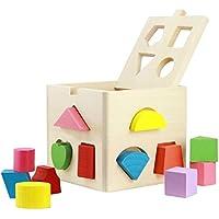PYRUS Trousse de calcul de 13 trous Jeu de cubes en bois pour l'intelligence géométrique de forme dans l'outil de forme de géométrie cognitive