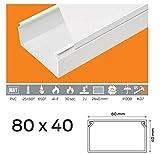 (3,49euros/M) 10m de câble Canal 80x 40mm PVC couleur Blanc