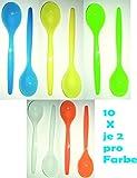 Die sch�nen Dinge Eierl�ffel aus Kunststoff, L�ffel Dessertl�ffel Kinderl�ffel Babyl�ffel 10er Set in gelb, blau, gr�n, wei�, orange EINWEG-verpackt(bunt, 1)