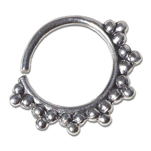 viva-adorno® 1,0mm Nasen Ring Silber Septum Ohr Piercing Ring Vintage Antik Tragus Helix verschiedene Designs wählbar Z521, D5