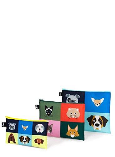 LOQI Stephen Cheetham Zip-Etuis Münzbörse, 32 cm, Cats & Dogs