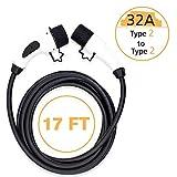 MAX GREEN - Cable de Carga eléctrico portátil EV para Coche, Tipo 2 a Tipo 2, 16 A/32 Amp, 17 pies