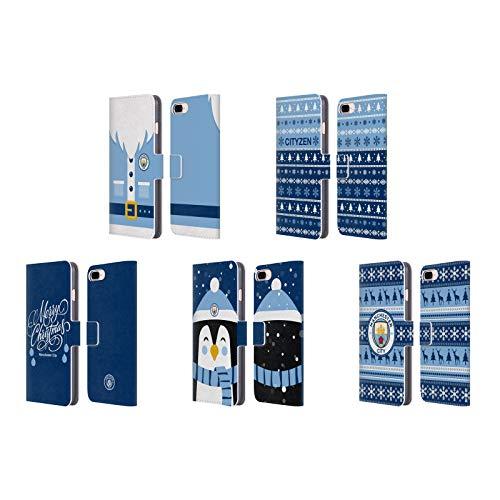 Officiel Manchester City Man City FC Noël Étui Coque De Livre en Cuir pour Apple iPhone Téléphones