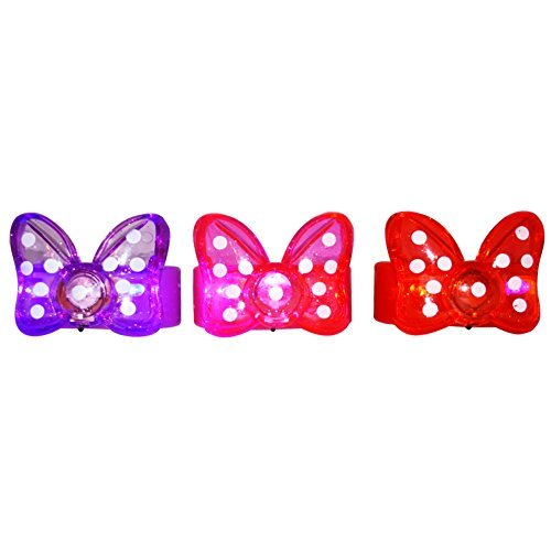 BEST PARTY FAVORS GIFTS 12 Minnie Bow - Bowtie Polkadot Flashing/Light-Up Bracelets: Lavender, Red, Pink by Exclusive Gifts Toys & More Polka Dot Bowties