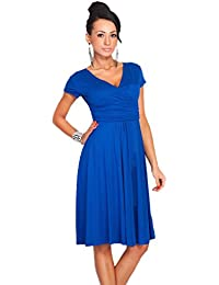GWELL Retro Vintage Damen V-Ausschnitt Sommer Kleid Strandkleid Swing  Kleider Elegant c88f6b14ff