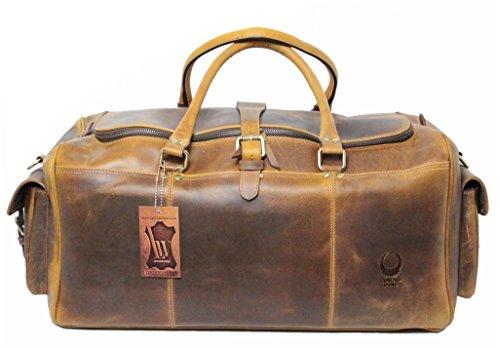 Reisetasche Leder Damen Herren Sporttasche Weekender Board-tasche Echt-Leder Handgepäck-Tasche große Umhängetasche leichtes Duffel Bag Weekend Bordgepäck Leder-Tasche braun Corno d´Oro TB20