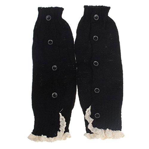Socken Longra Baby Kinder Mädchen Crochet Lace Boot Manschetten Topper Beinwärmer gestrickt Socken (Black) (Crochet-baby-socken)