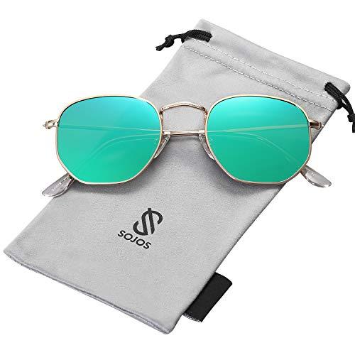 SOJOS Retro Vintage Specchio Polarizzate Lenti Poligono Protezione UV Occhiali da Sole SJ1072 Con Oro Telaio/Verde Specchio Lente