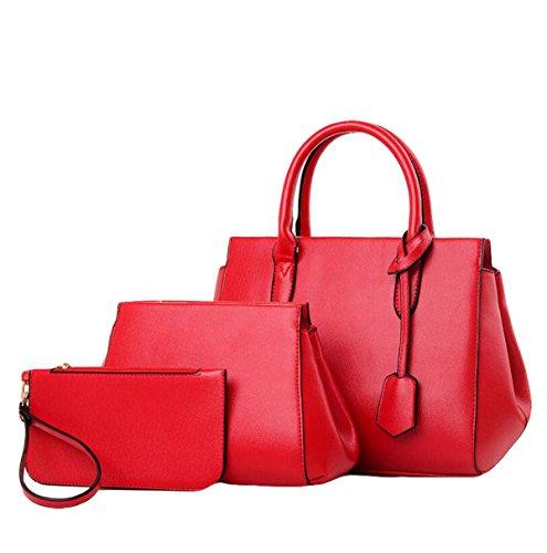 Damen Europa Und Die Vereinigten Staaten Einfache Dreiteilige Paket Paket Mode Messenger Bag Schultertasche Handtasche Red1