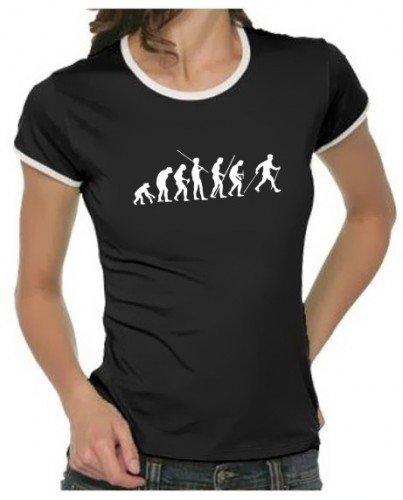 Coole-Fun-T-Shirts - T-Shirt Nordic Walking Evolution RINGER,, T-shirt da donna, bianco (weiss damen), Small