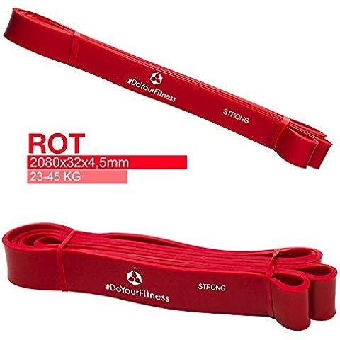 Fascia per sollevamenti sulle braccia »PullMeUp« / POWER-STRETCH-BAND Fascia elastica per fitness e ginnastica / Strong, rosso