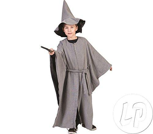 Kostüm Miittelalterlicher Zauberer in grau für Kinder Gr. 116 - 128