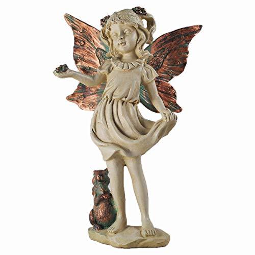 Forest Fee mit Eichhörnchen kupfer geflügelten weiß Figur Skulptur Art Deco Girl Garden Home Decor Geschenk 19