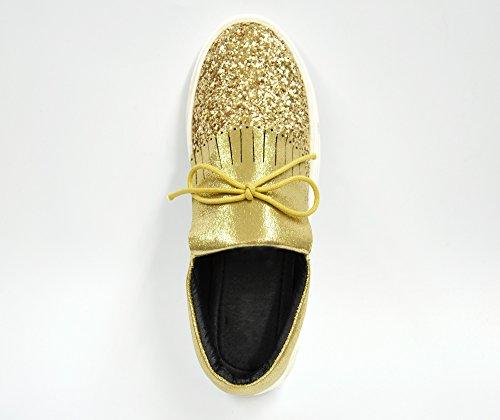 SHY40 * Baskets Tennis Sneakers Slip-On Paillettes et Tissu Brillant avec Languette Franges Ethnique et Noeud - Mode Femme (Doré) Doré