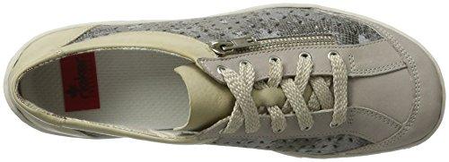 Rieker M3706, Scarpe da Ginnastica Basse Donna Grigio (Steel/grau-metallic/offwhite / 43)