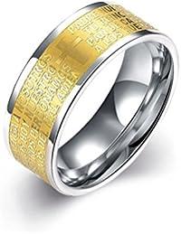HMILYDYK 8 mm, de acero inoxidable oro Letterring Cruz Boda Banda Anillo, tamaño de