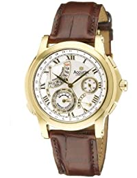Accurist Men's Quartz Watch with Silver Dial Analogue Display and Brown Leather Strap Gmt323