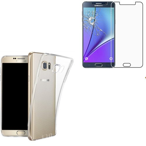 HQ-CLOUD Coque Gel En Silicone Transparent pour Samsung Galaxy Note 5 N920i + 1 film de protection d'écran en verre trempé