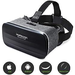 HAMSWAN Lunette 3D VR, Casque de Réalité Virtuelle, Lunette Virtuelle Le Plus Léger pour 3D Films et Jeux Compatibles avec iPhone et Autres Smartphones sous Android 4.0 à 6.0 (Gris)