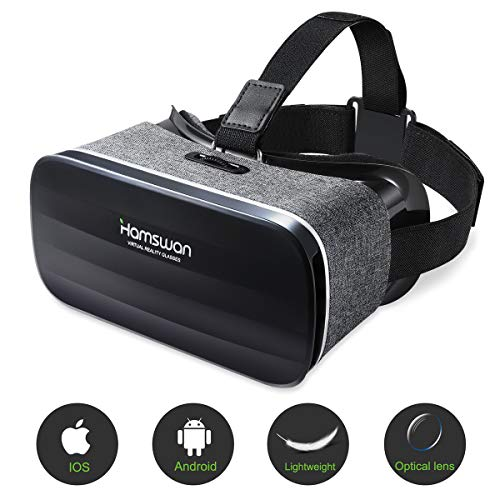 HAMSWAN 3D VR Brille für Handy, Video Movie Game Brille Virtuelle Realität Headset Kompatibel mit iOS, Android und anderen Handys innerhalb von 4.0-6.0 Zoll Ultraleichtes Gewicht MEHRWEG Virtuellen Video