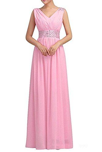 Milano Bride Braun Steine Geraft Chiffon Abendkleider Brautjungfernkleider Partykleider Lang A-linie Rock Rosa