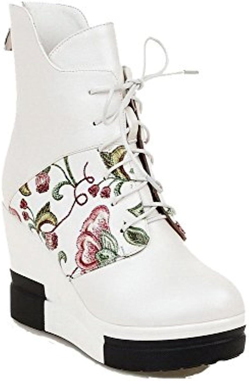 Odomolor Damen Reißverschluss Gemischte Farbe Hoher Absatz Rund Zehe Stiefel