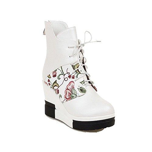VogueZone009 Damen Reißverschluss Gemischte Farbe Pu Leder Rund Zehe Hoher Absatz Stiefel Weiß