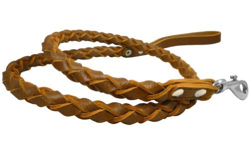4-thong Round Fully Braided Genuine Leather Dog Leash, 4 Ft Long Brown, Large Breeds by Dogs My Love -