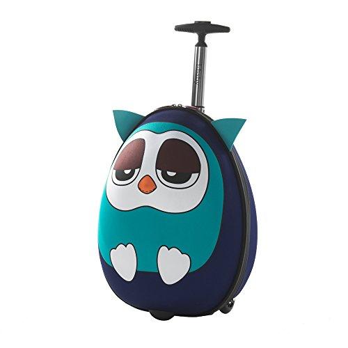 Imagen de i baby maletas infantiles con ruedas equipaje rígido de viaje cabina  y bolsa para niños niñas ropa favoritos juguetes 3d dibujos animados búho azul para chicos chicas 4 10 años alternativa