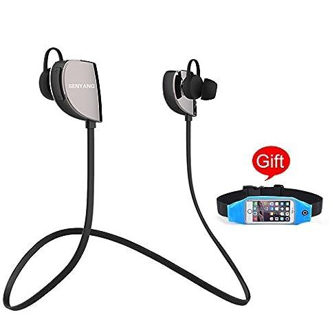 SENYANG drahtlose Bluetooth 4.1 Sport-Kopfhörer, Headset, Kopfhörer, Earbuds Noise Cancelling, Freisprechfunktion , Mic und Hi-Fi-Stereo-Sound für das Ausführen Gym (Laufgürtel Hüfttasche als Geschenk)