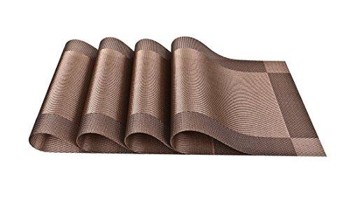 Tovagliette, GETALL lavabile vinile tessuto antimacchia cucina PVC antiscivolo isolante tovaglietta (marrone)