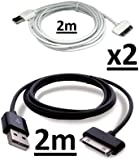 NoveltyThunder - 2 x Cable, 1 Black & 1 White 2M Extra Long 2 Meters 2 Metres Data Sync USB Charger Cable Lead For Samsung Galaxy Note 10.1 N8000 N8110 SAMSUNG GALAXY TAB 2 10.1 P5110 & 7.1