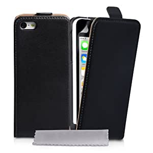 iPhone 5C Tasche Schwarz Echt Leder Flip Hülle