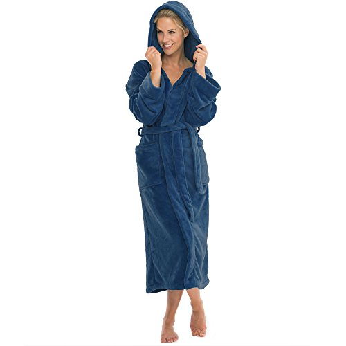 aqua-textil Bademantel mit Kapuze Damen Herren Morgenmantel weich und super flauschig, Coral Fleece Saunamantel lang, 1000413 Malibu L blau