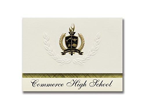 Signature Announcements Commerce High School (Commerce, GA) Abschlussankündigungen, Präsidential-Stil, Grundpaket mit 25 goldfarbenen und schwarzen metallischen Folienversiegelungen