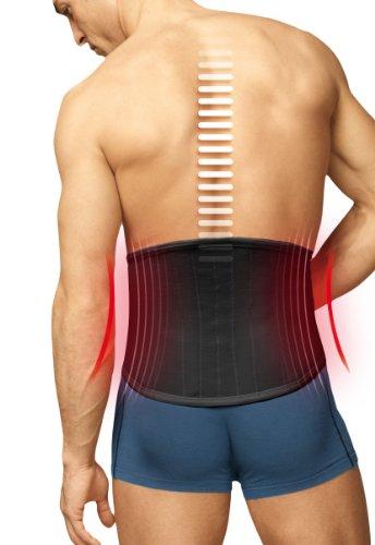 TURBO Med orthopädischer Rückenstützgürtel mit 4 Lumbalstützen bei Rückenschmerzen Überlastung Hexenschuss SCHWARZ Gr. XL TM825-XL9