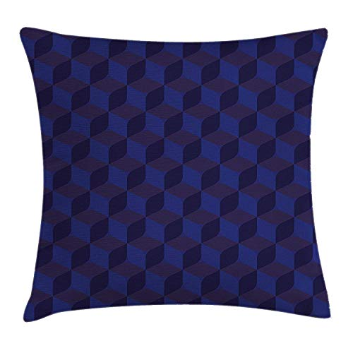 illow Cushion Cover, 3D Print Like Geometrical Futuristic Inspired Shadow Boxes Cubes Image Print, Decorative Square Accent Pillow Case, 18 X 18 Inches, Dark Blue and Blue ()