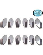 HOKIPO® Multipurpose Small Stainless Steel Adhesive Hooks - Load Capacity Upto 1 KG (Oval)