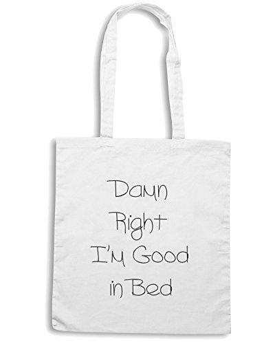 T-Shirtshock - Borsa Shopping TDM00052 damn right i am good in bed Bianco