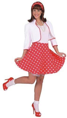 Rock 'n Roll Rock m. Petticoat rot,weiß gepunktet, Größe:42-44