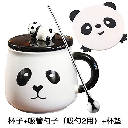Panda Keramik Tasse Kreative Tasse Mit Deckel Löffel Kaffeetasse Büro Haushalt Tee Großen Bauch Tasse - Panda Auge Muster Tasse + Stroh Löffel + Untersetzer -