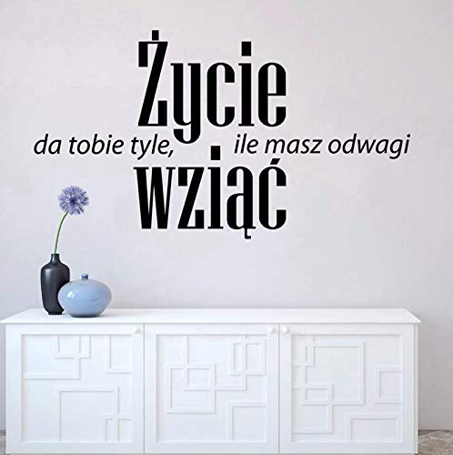 (Dalxsh Polen Positive Zitate Wandaufkleber Home Office Art Decor, Das Leben Geben Sie Mut Nehmen Vinyl Wall Decals Kunst Wandbild55X31Cm)