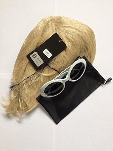 Kurt-Cobain-Perücke und Brille, Nirvana-Kostüm, Grunge, kurze Blonde Haare, hochwertig und weiße Sonnenbrille UV 400, Stil des Songs: Smells Like Teen (Cobain Kurt Kostüm)
