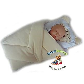 BlueberryShop manta de terciopelo con almohada Saco de dormir para bebés recién nacidos | Regalo perfecto para Baby Shower | Para bebés de 0-3 meses | 78 x 78 cm | Albaricoque