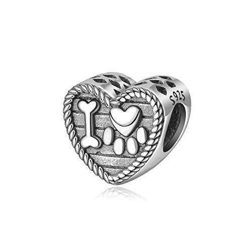 Abalorio de huella de perro, plata de ley 925, diseño de animal, para pulsera Pandora