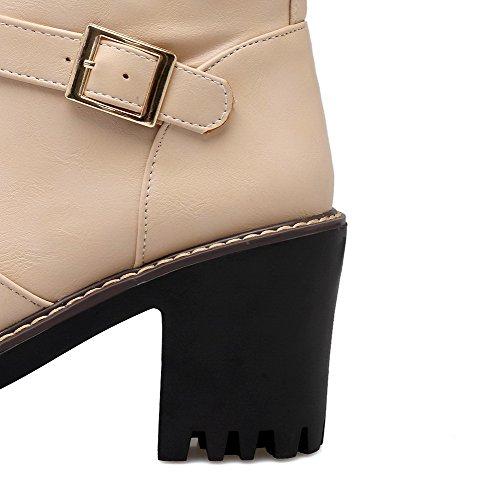 AgooLar Damen Wasserdicht Plattform Pu Leder Reißverschluss Rund Zehe Stiefel Aprikosen Farbe