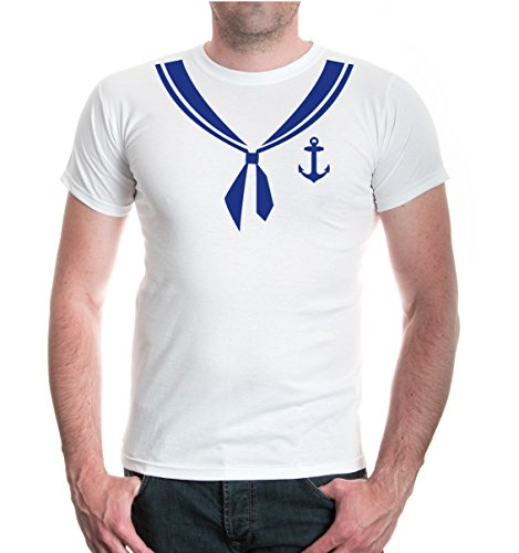 buXsbaum® Herren T-Shirt Unisex Kurzarm T-Shirt bedruckt Matrose-Dress | Kostüm Karneval Fasching | S white-royal Weiß (Marine-uniform Dress)