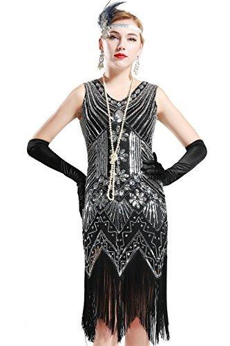 BABEYOND Damen Flapper Kleider voller Pailletten Retro 1920er Jahre Stil V-Ausschnitt Great Gatsby Kostüm Kleid (Größe XL/UK 18 / EU46, Schwarz)