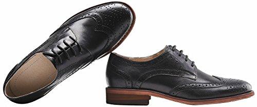 SimpleC Femme Plat Vintage Nubuck Oxfords à Lacets Derbies Comfy Bureau Chaussures en cuir Noir