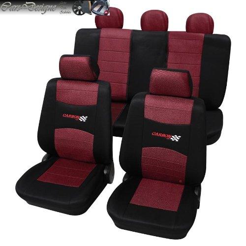 Eco Class Carbon Weinrot 11 teilig Sitzbezug Schonbezüge Schonbezug Autoschonbezug Sitzbezüge (Civic Sitzbezüge Honda Auto)
